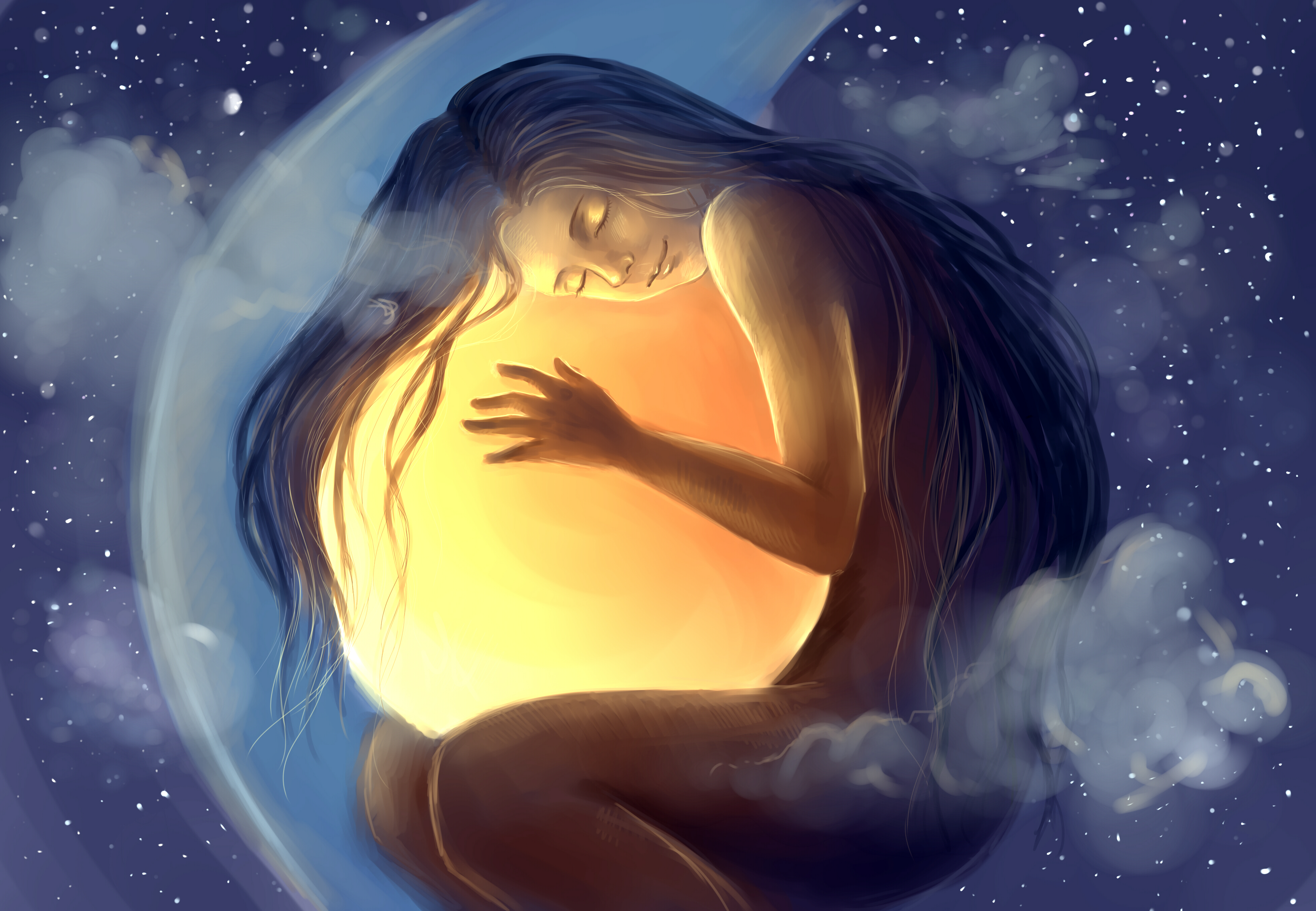 painting-dreaming-crystal-ball-moon-star-sleeping-happy-smile